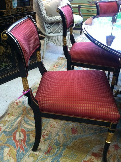 The Karges tables is surrounded by 8 beautiful Regency chairs .. Priced at 6300.00